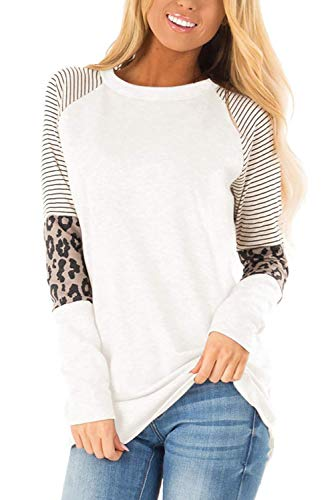 QAKEHU Damen T Shirt mit Leopardenmuster Tunika Rundhals Oberteile Loose Kurzarm Tops White L Oberteil Leopard Damen