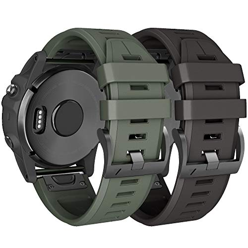 NotoCity Compatible Fenix 5X Plus Bands Sport Silicone Replacement Watch Strap for Garmin Fenix 5X/Fenix 5X Plus/Fenix 6X/Fenix 6X Pro/Fenix 3/HR/Descent MK1/D2 Delta PX/D2 Charlie(Black/Army Green)