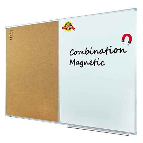 Lockways Magnetic Dry Erase Board and Cork Bulletin Board Combination, 36 x 24 Inch Magnetic Combination Board Ultra-Slim Silver Aluminium Frame