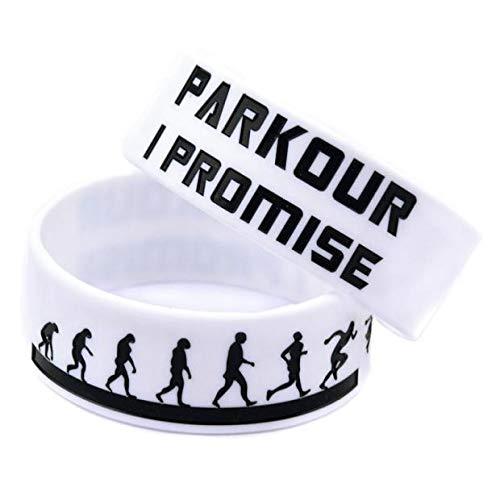 ZWH Suministro transfronterizo 1 Pulgada Parkour Parkour Movimiento de la muñeca Pulsera de Silicona Banda I Promise Colorear Logo (Color : White)