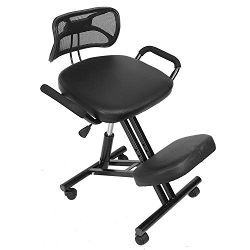 TOPINCN Ergonomic Kneeling Chair Posture Correction Kneel Stool Orthopedic Spine Support Upright Backrest Thick Knees Cushions Adjustable Angled for Back Pain Relief