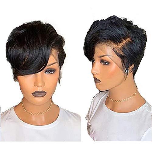 HAIRCARE Pixie Cut Perruque Avant De Dentelle Perruques De Cheveux Humains,150% Remy Brésilien PrePlucked Dégarni,Noeud Naturel Ondulé Couleur Noir-a