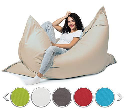 sunnypillow XXL Sitzsack, Riesensitzsack Outdoor & Indoor 180 x 145 cm mit 380L Styropor Füllung Sessel für Kinder & Erwachsene Sitzkissen Sofa Beanbag viele Farben und Größen zur Auswahl Cremefarben