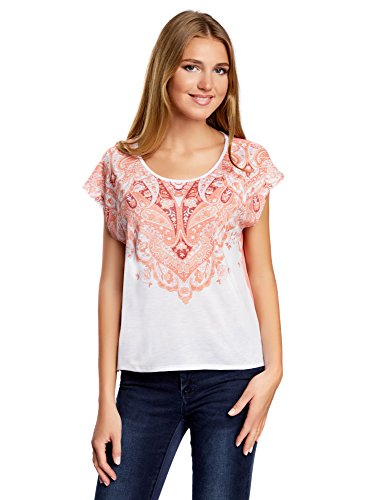 oodji Ultra Donna T-Shirt Stampata con Retro in Chiffon, Rosa, IT 42 / EU 38 / S