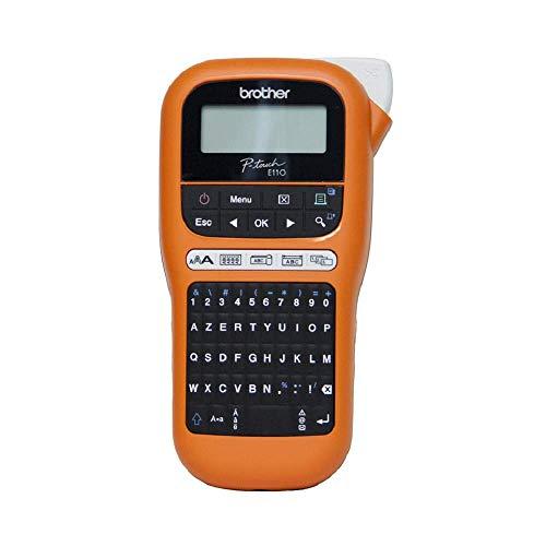 Brother PT-E110 | Professioneller Etikettierer, industriell, mit 1 Band Tze-FX221, Schwarz/Weiß, 9 mm