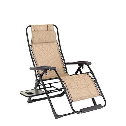ZKDX Plegable Silla Plegable portátil de la Gravedad Cero Silla de salón de sillones reclinables for Patio, Piscina con portavasos y Almohada MXY