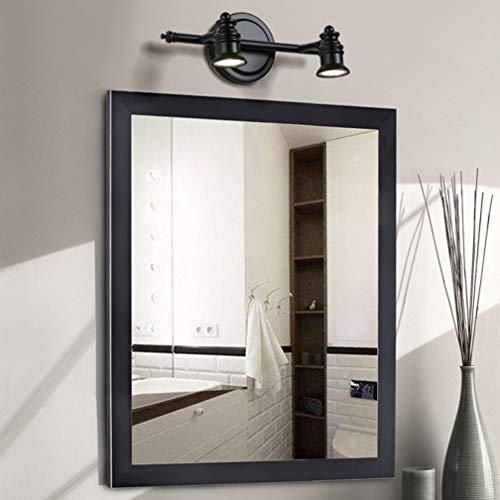 Lámparas de espejo LED vintage Apliques giratorios creativos Luz clásica de espejo de color negro Lámpara de espejo nórdico para baño con focos LED IP 44 18cm de la pared, 2- cabeza