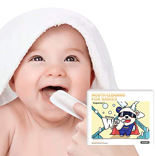 Tongueclear Baby Dry Wipes | Tooth and Gum Wipes | Baby Tongue Cleaner | Stage 1 Birth to First Teeth | 0-36 Months | 60 Count