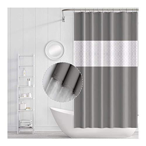 Pellorr Cortina de ducha de baño con gancho impermeable cortina de ducha accesorios de baño, 180 x 200 cm (cosido gris)
