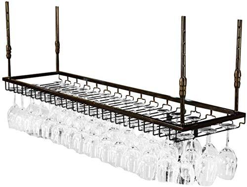 Wijnliefhebbers Bar & Wijnmeubel, wandhouder voor plafondmontage, voor wijnfles, metalen houder, Goblet, wijnglas, wijnrek (kleur: zwart) Zwart