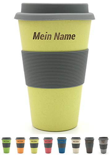 BambooYou Magu personalisierter Coffee to go Becher mit Namen Bambus Namensbecher - Individuelle Namensgravur- Lasergravur 465 - naturgelb