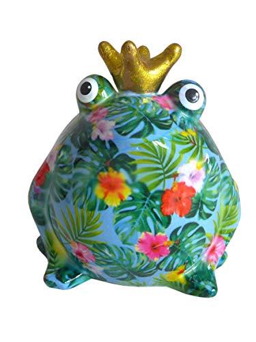 Pomme Pidou XL Spardose Frosch Tropical 17x28 cm Froschkönig Sparbüchse Geldgeschenk