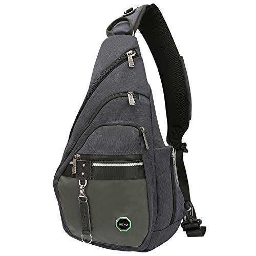 JOCHUI Sling Backpack, Sling Bag Pack Crossbody Bags Shoulder Backpack Laptops Travel Bag for Men Women Teens Dark Gray