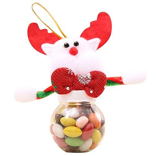 Deko Weihnachten, QHJ Netter Weihnachtssüßigkeits Speicher kann für Hauptgeschenk Keks Nahrungsmittelspeicher Glas verzieren (E)