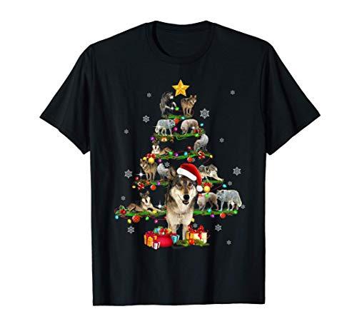 Wolf Christmas Tree X-mas Lover Womens Gift T-Shirt