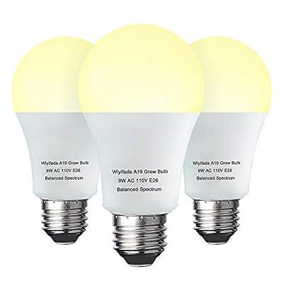 3 Pack Grow Light Bulb Indoor Grow Light,A19 Full Spectrum Plan Light Bulb,E26 110V 9W Grow Bulb Replace up to 100W, Plant Light Bulb for Indoor Plants, Flowers, Greenhouse, Indore Garden, Hydroponic