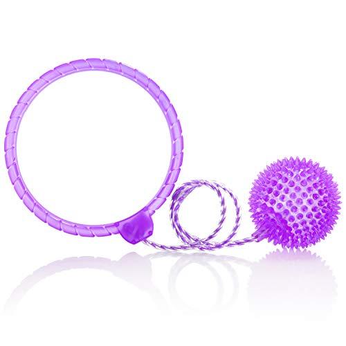com-four® Fußkreisel mit Licht - Jumping Ball für Kinder - Bunt Blinkender Knöchel-Swing-Ball - Skip it (lila)