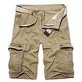 DSDFSVEW Pantalones cortos militares para hombre de verano del ejército de algodón verde pantalones cortos sueltos multi-bolsillo pantalones cortos casuales bermudas, caqui, 44