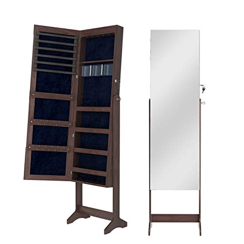 sogesfurniture Schmuckschrank Spiegelschrank abschließbar, 156x41x36.5cm Standspiegel Schmuckregal Schmuckkasten Spiegel Aufbewahrungsbox Organizer, BHEU-QH-6150-BW