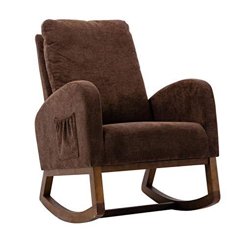 MERICP Rocking Chair, Mid-Century Modern Fabric Rocking Chair Comfortable Relax Rocking Chair with Cotton Fabric Cushion