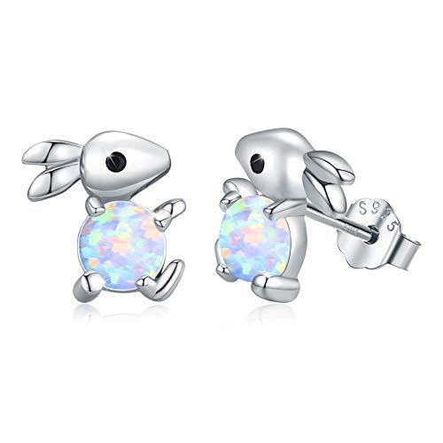 Hasen Ohrringe Silber 925 Kinder Ohrringe Opal Hase Ohrstecker Ohrringe Tiere für Mädchen