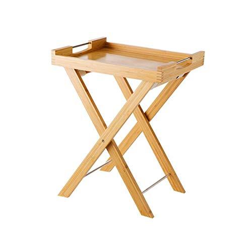 YUMEIGE-MESAS Mesa de Centro Plegable Multifuncional, Bandeja de bambú de Mesa de sofá, Mesa Lateral con Soporte (Color : Bamboo, Size : 18.50 * 14.96 * 23.42in)
