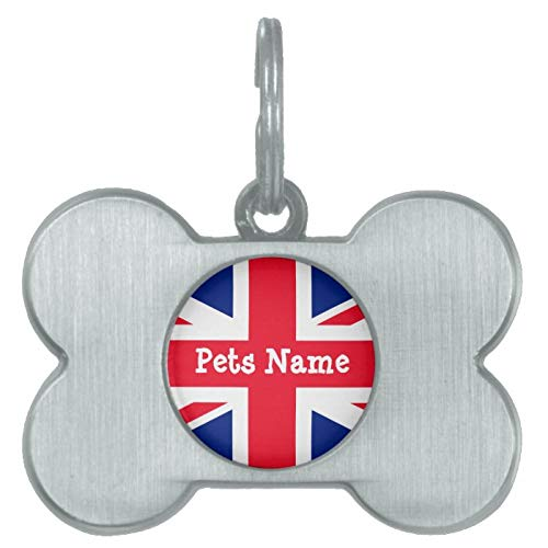 Stainless Steel Pet ID Tags, Union Jack British Flag UK ID Name Pet Tag, Dog Tags, Cat Tags, Bone Shaped ID Tag for Dogs and Cat