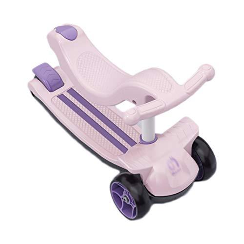 FXJ Patinete 3 en 1 perfecto para niños, para empujar, deslizar y andar para niños pequeños y niñas de 2 a 12 años, altura ajustable, cubierta extra ancha, ruedas iluminadas para niños pequeños