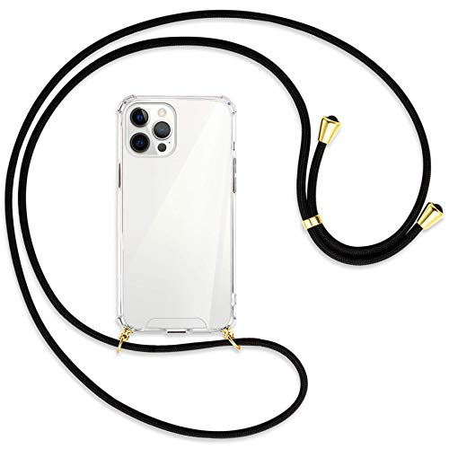 mtb more energy Collar Smartphone para Apple iPhone 12 Pro MAX (6.7'') - Negro/Oro - Funda Protectora ponible - Carcasa Anti Shock con Cuerda Correa