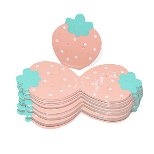 50Pcs Lovely Strawberry Shape Paper Cards for Earrings DIY Jewelry Packaging - Pink, 4.5 x 11cm