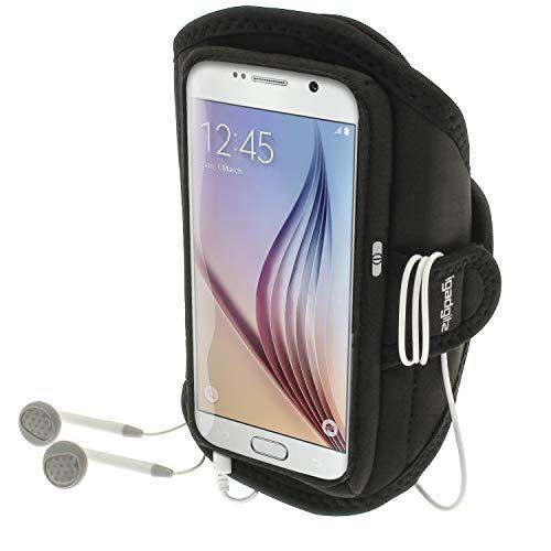 iGadgitz U3574 - Brazalete Deportivo, Agua Resistente, Compatible con Samsung Galaxy S6 SM-G920 y S7 SM-G930, Negro