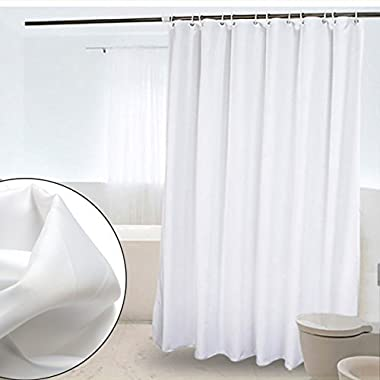 CRW White Fabric Shower Curtain Liner Mildew Resistant for Bathroom Polyester Curtains with Hooks, 72  x 72