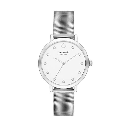 Kate Spade New York Women's Monterey Quartz Stainless Steel Three-Hand Dress Watch, Color: Silver (Model: KSW1559)