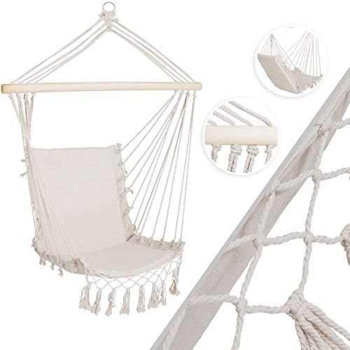 Kesser® Hängesessel mit Polsterung 150kg Hängesitz Sitzpolster atmungsaktiv geflochten Hängestuhl Hängeschaukel Indoor Garten, Beige