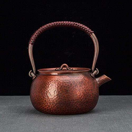 QOHG Tetera de cobre hecho a mano con patrón de ojos en latido Tetera de tetera de cobre rojo Antique Kung Fu Tea Set-1.5L
