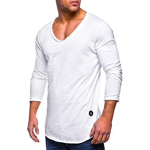 MRULIC Herren Longsleeve Rundhals Sweatshirt Slim Fit Lang Ärmel Muskel Fitness Baumwolle Casual Tops Shirts RH-011(Weiß,EU-52/CN-3XL)