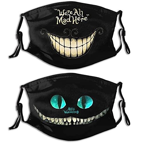 KINGAM Máscaras faciales ligeras ultra transpirables lavables reutilizables para adultos diseños impresos, a prueba de polvo, pasamontañas ajustables negro-1-1