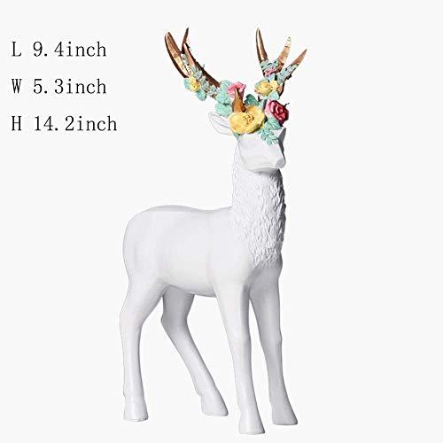 HEWEI Escultura de Resina decoración del hogar de Arte Decoración de Ciervos Decorativos de Flores de Colores Muebles de Escritorio artesanías Estatuilla de diseño de Animales-BlancoA 14.2 Pulgadas