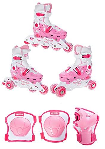RAVEN 3in1 Kinder Inlineskates/Triskates/Rollschuhe Balloon verstellbar + Schützer Croxer Neve (Pink, 33-36 (20cm-22,5cm) + Schützer XS)