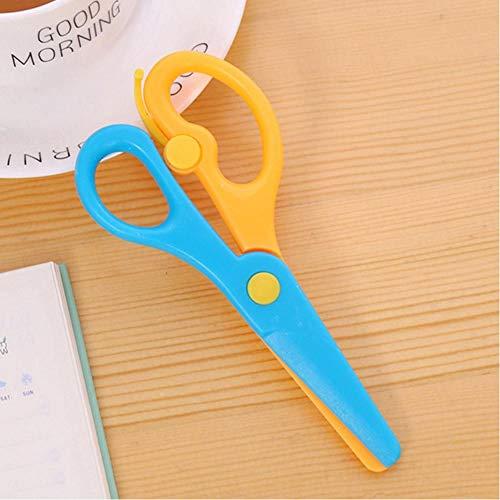 Mooie mini 137cm veiligheid ronde kop kunststof schaar student kinderen papier snijden Minions accessoires voor kleuterschool geel blauw