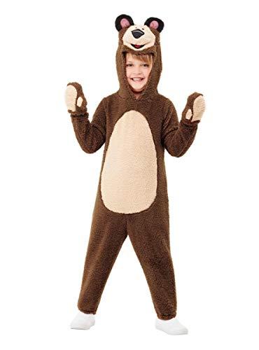 Funidelia | Disfraz de Oso - Masha y el Oso para niño Talla 2-3 años ▶ Masha and The Bear, Dibujos Animados - Marrón, Mono con Capucha y Guantes