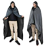 Waterproof Blanket for Outdoors, Hooded Blanket Poncho   Windproof, Warm, Wearable, Portable  for Stadium, Picnics, Sports Events, Camping, Yoga, Beach, Outdoor Adventure