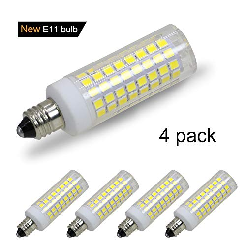 [4-Pack] E11 led Bulb, 75W or 100W Equivalent Halogen Replacement Lights,850 Lumens, Daylight White 6000K, Replaces T4 /T3 JD e11 Light Bulb.