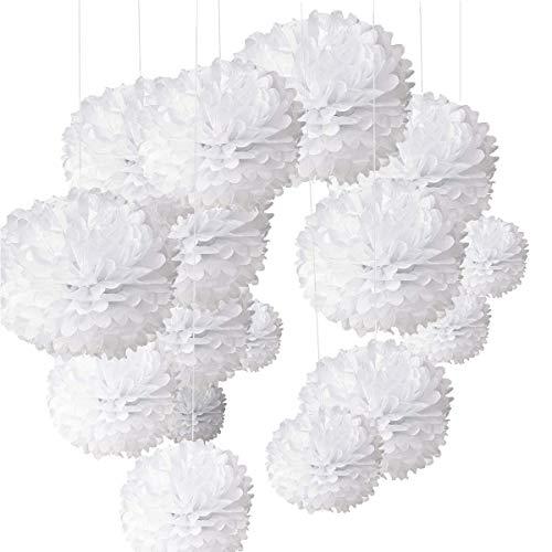O-Kinee 24pcs Set Pompons Papier Fleur Pompon Pompons Papier