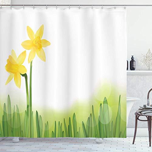 EdCott Narzisse in der Wiese auf dem Gras-frischen & einheitlichen Farbillustrations-Gewebebadezimmermuster einfach, Duschvorhang für Badezimmerbadezimmer-Hotelvorhang-Grüngelb zu säubern