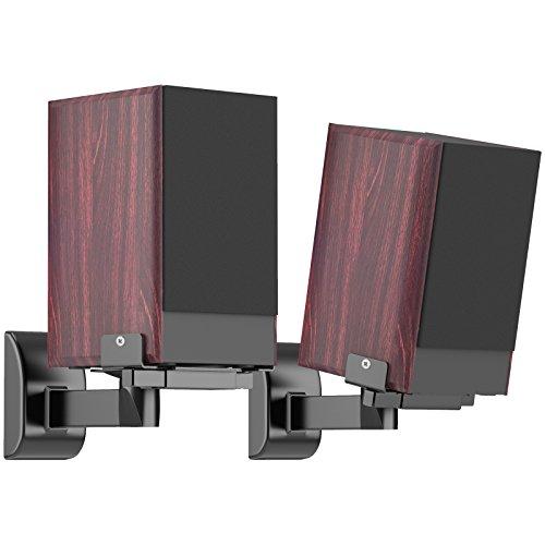 BONTEC 2 Stück (1 Paar) Lautsprecher Wandhalter Audio Speaker Halter verstellbar, neigbar/schwenkbar, hält bis 15 kg (33lbs)