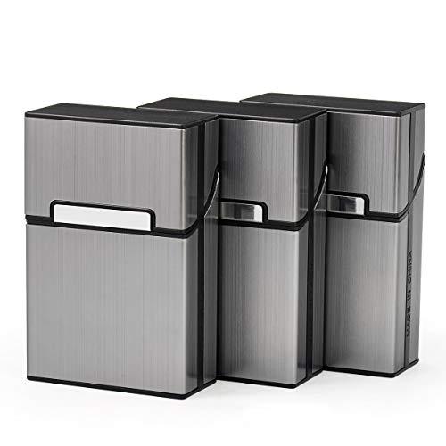 Zigarettenetui 3 Stück Metall Zigarettenkasten für 20 Zigaretten - Zigarettenbox mit Magnetverschluss - Elegantem Zigarettenschachtel mit Verstärktem Kunststoffgehäuse & Einrast (Grau)