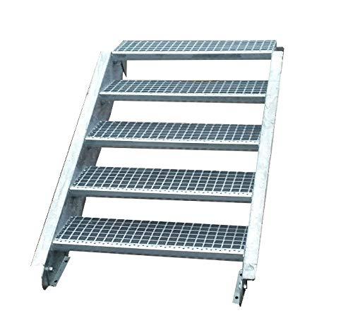Stahltreppe Industrietreppe Aussentreppe Treppe 5 Stufen-Stufenbreite 80cm / Geschosshöhe variabel 70-105cm verzinkt Gitterrosttreppenstufen Tiefe 24cm
