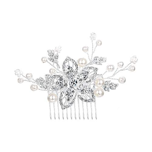 Clearine Damen Böhmisch Creme Künstliche Perlen Kristall Blume Handarbeit DIY Hochzeit Braut Haarkamm