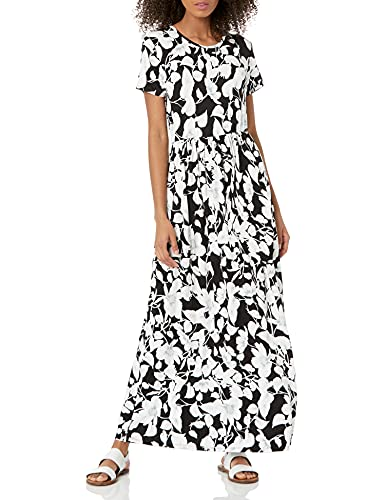 Amazon Essentials Women's Patterned Short-Sleeve Waisted Maxi Dress, Black Romantic Floral, S